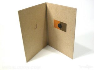Magnetic Closure CD Fiberboard jacket organic packaging with foam hub to hold disc