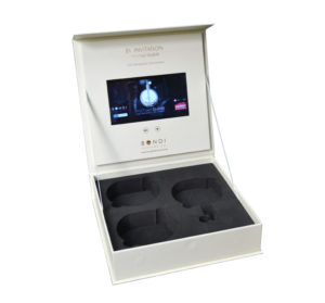 LCD video screen box with die cut wells for retail items, 7inch screen