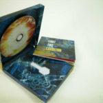Custom USB and disc packaging with cardboard shelf for key shaped usb drive