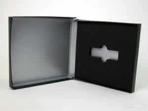 USB box with foam well custom cut for thumb drive
