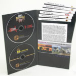 DVD jacket custom 2disc with literature slot for staggered height brochures, 2 foam hubs