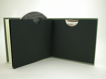 CD Book with swinging sleeve, black kraft paper