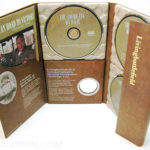DVD set with 3 paper trays, 10inch height digipak, curved pocket, magnet flap, coin die cut hole organic packaging