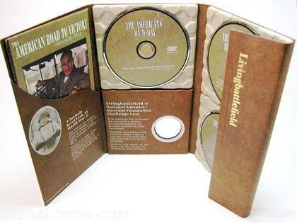 Custom Digipak DVD set with 3 paper trays, 10inch height digipak, curved pocket, magnet flap, coin die cut hole organic packaging