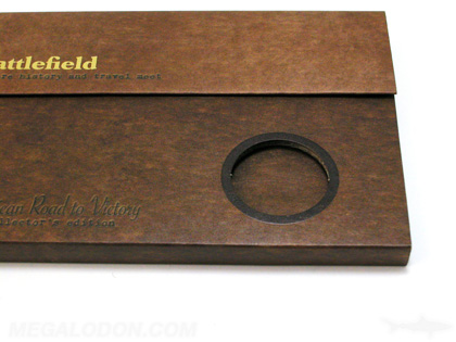 Custom DVD Set with die cut coin hole and organic fiberboard stock, portfolio magnet closure