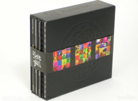 Multidisc deluxe box set with leatherette wrapped chipboard box, digipaks and spiral bound notebooks inside