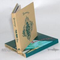 Linen wrapped hard bound cd book, 1C silkscreened, 4C slipcase