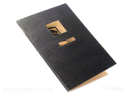 Die cut packaging with window and business card slot