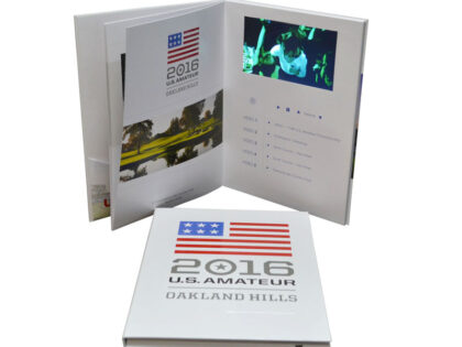 Hardbound video book with inner pages and pocket