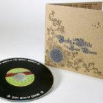 Silver metallic ink on fiberboard cd jacket vinyl disc