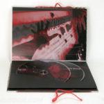 Custom DVD Book 2 dvd discs swinging sleeve, red string tie