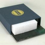 Linen wrapped box slipcase set with foam filler shown
